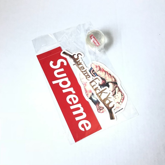Supreme FW18 Guts F You Sticker Pack /& Bouncy Ball With Box Logo